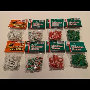 LOT OF 8 HOLIDAY THEMED ERASERS.